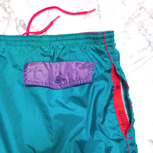 80s 90s Teal Nylon Fire Island Swim Trunks sz M L
